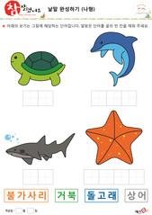 낱말 완성하기 동물 곤충(나형) - 거북, 돌고래, 상어, 불가사리