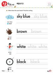 색깔쓰기 - 하늘색, 갈색, 하양, 검정
