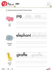 동물 - 돼지, 코끼리, 기린
