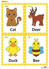 영어 단어 카드 동물 곤충(A형) - 고양이, 사슴, 오리, 벌