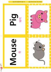 영어 단어 카드 동물 곤충(B형) - 돼지, 쥐