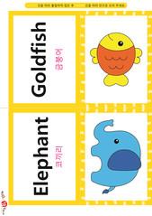 영어 단어 카드 동물 곤충(B형) - 금붕어, 코끼리