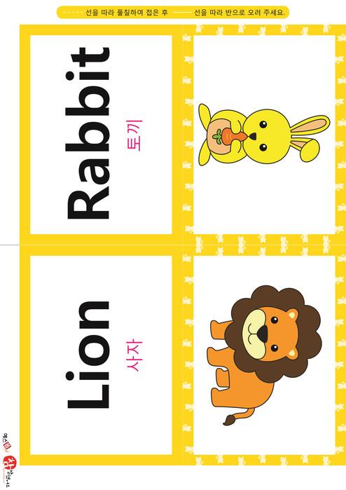 영어 단어 카드 동물 곤충(B형) - 토끼, 사자