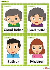 영어 단어 카드 가족 직업(A형) - 할아버지, 할머니, 아빠, 엄마