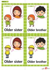 영어 단어 카드 가족 직업(A형) - 언니, 오빠, 누나, 형