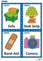 영어 단어 카드 생활용품(A형) - 소파, 책상등, 구급반창고, 사진기