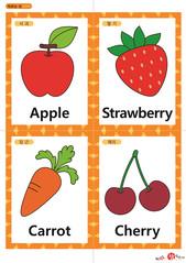 영어 단어 카드 과일 채소(A형) - 사과, 딸기, 당근, 체리