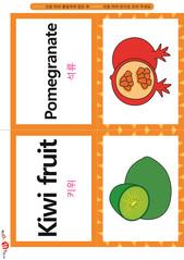 영어 단어 카드 과일 채소(B형) - 석류, 키위