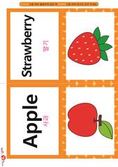 영어 단어 카드 과일 채소(B형) - 딸기, 사과
