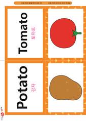 영어 단어 카드 과일 채소(B형) - 토마토, 감자