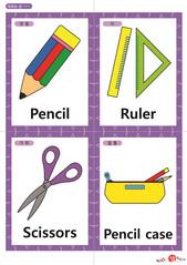 영어 단어 카드 학용품 악기(A형) - 연필, 자, 가위, 필통