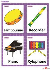 영어 단어 카드 학용품 악기(A형) - 탬버린, 리코더, 피아노, 실로폰