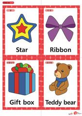 영어 단어 카드 크리스마스(A형) - 별, 리본, 선물상자, 곰인형