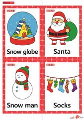영어 단어 카드 크리스마스(A형) - 스노우볼, 산타, 눈사람, 양말