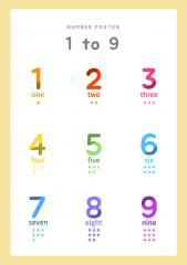 알록달록한 스타일 (1~9)숫자포스터 A4