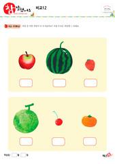 비교 - 사과, 수박, 딸기, 멜론, 체리, 귤, 과일