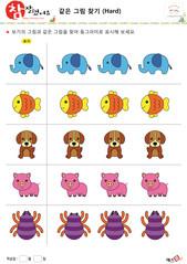 같은 그림 찾기 - 코끼리, 금붕어, 강아지, 돼지, 거미