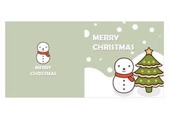 크리스마스카드 (눈사람과 트리)