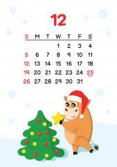 12월 - 크리스마스트리를 만들며 행복한 소 달력