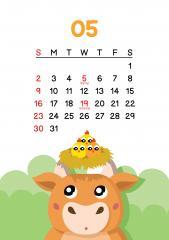 5월 - 병아리들과 가족이 되어 행복한 소 달력