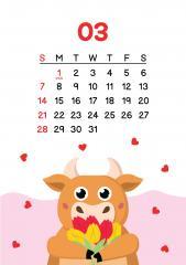 3월 - 꽃다발을 받아 행복한 소 달력