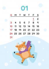 1월 - 펑펑 눈이 와서 행복한 소 달력