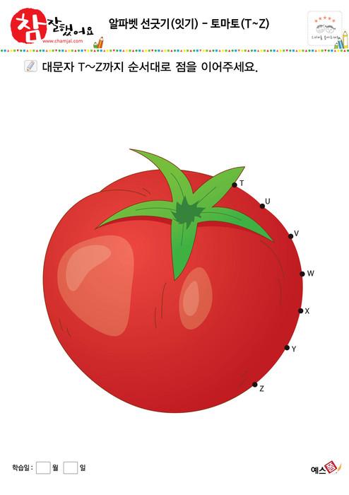 알파벳 선긋기(잇기) - 토마토(T~Z)