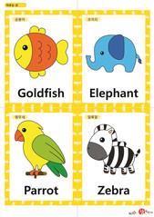 영어 단어 카드 동물 곤충(A형) - 금붕어, 코끼리, 앵무새, 얼룩말