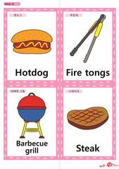 영어 단어 카드 캠핑(A형) - 핫도그, 부집게, 바베큐 그릴, 스테이크