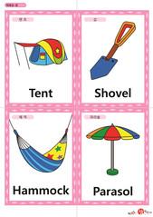 영어 단어 카드 캠핑(A형) 텐트, 삽, 해먹, 파라솔
