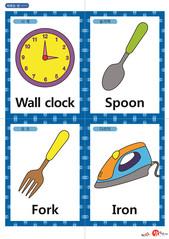 영어 단어 카드 생활용품(A형) - 시계, 숟가락, 포크, 다리미