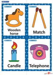 영어 단어 카드 생활용품(A형) - 목마, 성냥, 양초, 전화기