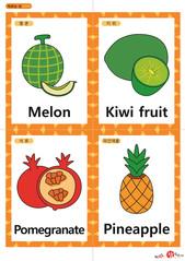 영어 단어 카드 과일 채소(A형) - 멜론, 키위, 석류, 파인애플
