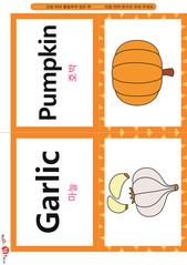 영어 단어 카드 과일 채소(B형) - 호박, 마늘