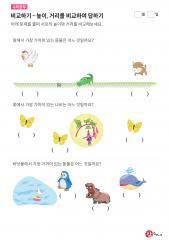비교하기 - 높이 비교하기(닭, 소, 악어, 나비, 펭귄, 하마, 고래)