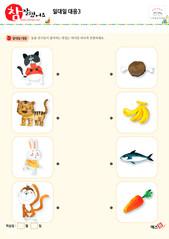 일대일 대응 - 고양이, 호랑이, 토끼, 원숭이, 고기, 바나나, 물고기, 당근