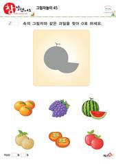그림자놀이 - 같은 모양의 그림자 찾기(과일, 수박 찾기)