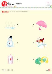 연관성 - 비, 눈사람, 약, 우산, 감기, 목도리와 귀마개