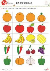 같은 그림 찾기 - 과일, 채소, 오렌지, 배, 양파, 자두, 토마토, 사과, 바나나, 레몬, 참외, 고추, 앵두, 포도, 피망, 호박, 마늘