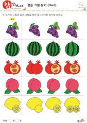 같은 그림 찾기 - 포도, 수박, 석류, 복숭아, 레몬