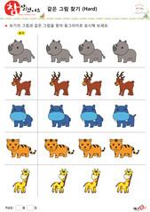 같은 그림 찾기 - 코뿔소, 루돌프,하마, 호랑이, 기린