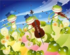 연주하는 개구리