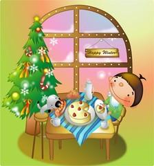 크리스마스에 케익먹는 소년