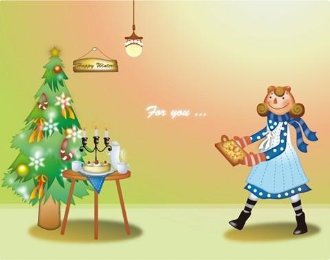 쿠키를 굽는 소녀