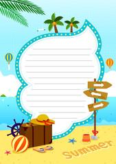 여름 편지지 (여행을 떠나요)