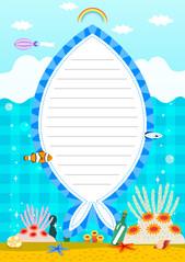 여름 편지지 (바닷속 물고기)