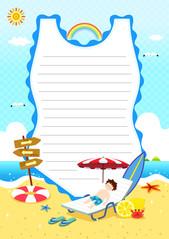 여름 편지지 (수영복)