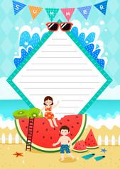 여름 편지지 (시원한 수박)