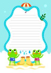 여름 편지지 (비 맞는 개구리)