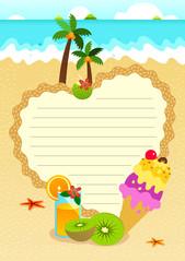 여름 편지지 (아이스크림과 과일주스)